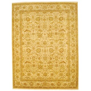 Indo Hand-knotted Vegetable Dye Tabriz Beige/ Green Wool Rug (8'11 x 11'8)