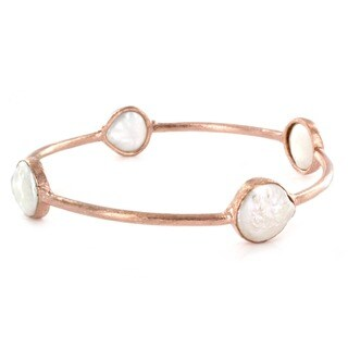 ELYA 18k Rose Goldplated Coin Shell Bangle Bracelet