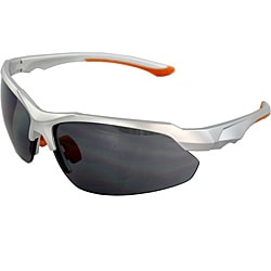 Unisex Silver/ Orange Semi-rimless Fashion Sunglasses