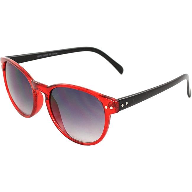 Retro Round Unisex Red/Black Sunglasses