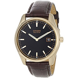 Citizen Men's Eco-drive Stainless Steel Watch with Goldtone Bezel