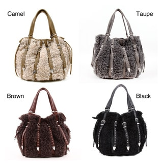 Nicole Lee Fifi Faux-fur Hobo Bag with Faux-leather Accents