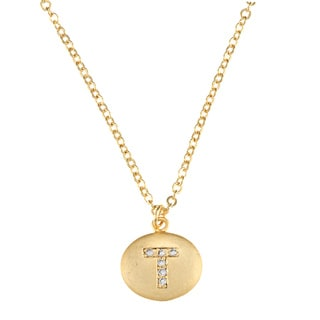Goldplated Pave-set Crystal Round Initial Gemstone Necklace - 17-inch