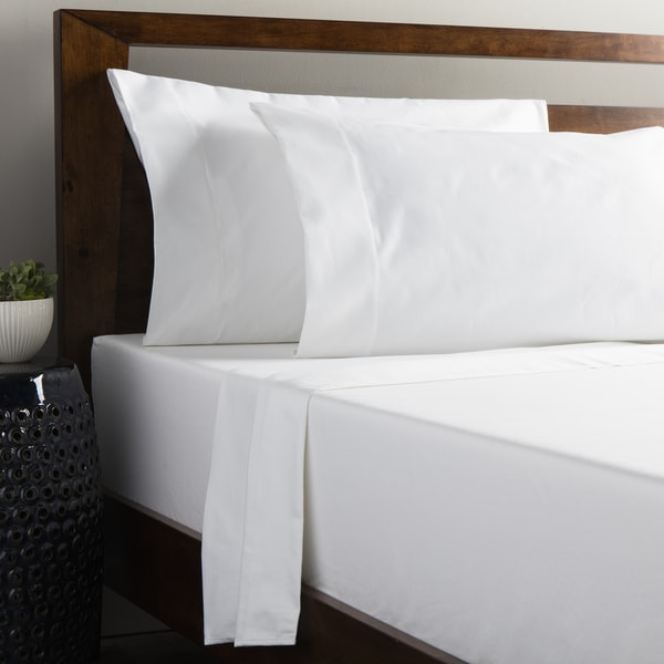 Grand Luxe Egyptian Cotton Solid Sateen 1200 Thread Count Cal-King Size Deep Pocket Sheet Set in White (As Is Item)