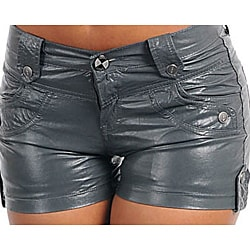 Stanzino Women's PVC Plus Size Dark Gray Shorts