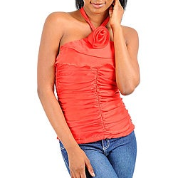 Stanzino Women's Red Rosette Ruffled Halter Top