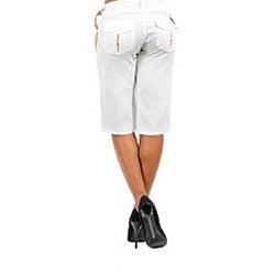 Stanzino Women's Plus-size White Linen Capris
