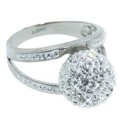 Eternally Haute Stainless Steel White Crystal Fireball Cocktail Ring