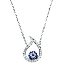 Eternally Haute Silver Blue and White CZ Evil Eye Teardrop Necklace