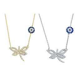 Sterling Silver Evil Eye Dragonfly Necklace