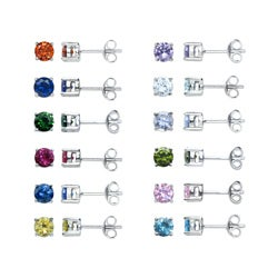 Eternally Haute Silver Colored Cubic Zirconia Stud Earrings (Set of 12)