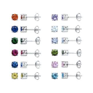 Eternally Haute Sterling Silver Cubic Zirconia Stud Earrings (Set of 12)