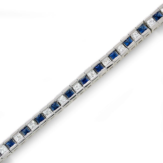 14k White Gold Sapphire and 1 3/5ct TDW IGL Certified Diamond Bracelet (H-I, I1-I2)