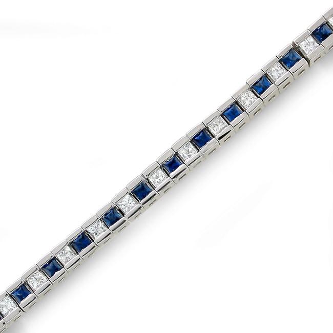 Montebello 14k White Gold Sapphire and 1 3/5ct TDW IGL Certified Diamond Bracelet (H-I, I1-I2)