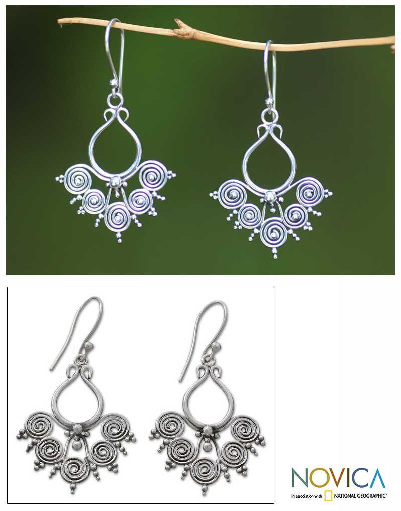 Sterling Silver 'Goddess Swirls' Dangle Earrings (Indonesia)