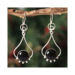Sterling Silver 'Andean Moon' Onyx Dangle Earrings (Peru)