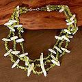Peridot 'Flamboyant Trio' Pearl Necklace (14.5-15 mm) (India)