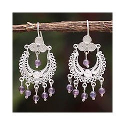 Sterling Silver 'Lilac Showers' Amethyst Filigree Earrings (Peru)