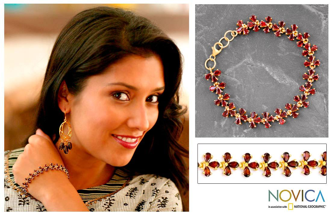 Petals 22K Gold Plate Over Sterling Silver with Faceted Pear Shape Red Garnet Gemstones 20 TCW Classic Womens Bracelet (India)