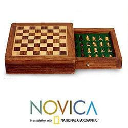 Sheesham and Kadam Wood 'Brave Warrior' Travel Chess Set (India)