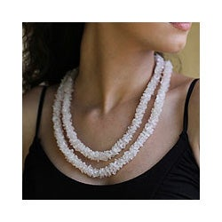 Rose Quartz 'Aura' Beaded Necklace (India)