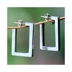 Sterling Silver 'Fair Square' Half Hoop Earrings (Indonesia)