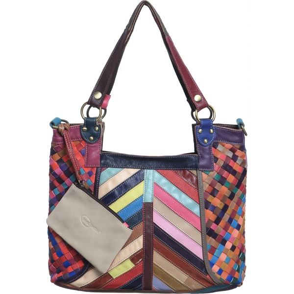 Amerileather 'Hazelle' Rainbow Leather Tote Bag