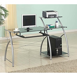 Zigg Printed-black Glass Multi-shelf Adjustable Computer Cart