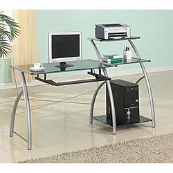 Zigg Printed-black Glass Multi-shelf Adjustable Computer Cart