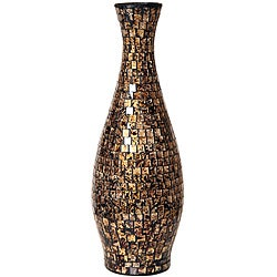 Gold and Black Small Mosaic Decorative Vase (Indonesia)