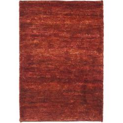 Hand-knotted Vegetable Dye Solo Rust Hemp Rug (5' x 8')