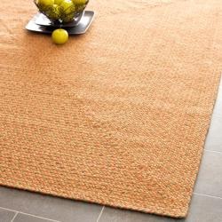 Hand-woven Reversible Peach/ Green Braided Runner (8' x 10')