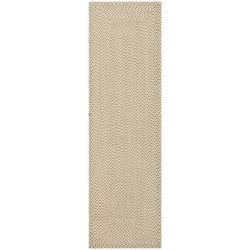 Hand-woven Reversible Beige/ Brown Braided Rug (2' 3 x 12')