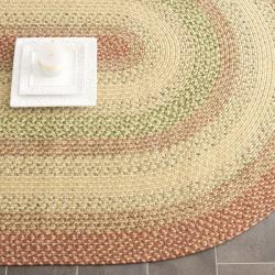 Hand-woven Reversible Rust/ Ivory Braided Rug (9' x 12' Oval)