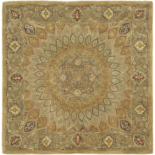Handmade Heritage Medallion Light Brown/ Grey Wool Rug (8' Square)