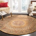 Handmade Heritage Medallion Light Brown/ Grey Wool Rug (8' Round)