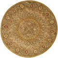 Handmade Heritage Medallion Light Brown/ Grey Wool Rug (3'6 Round)