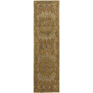 Handmade Heritage Medallion Light Brown/ Grey Wool Rug (2'3 x 12')