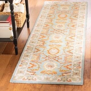 Safavieh Handmade Treasures Light Blue/ Ivory Wool Rug (2'3 x 6')