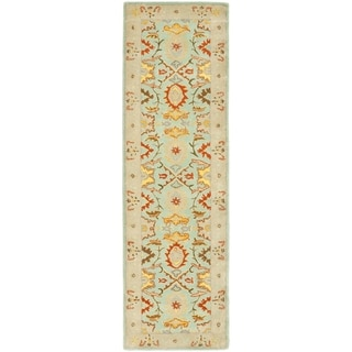 Handmade Treasures Light Blue/ Ivory Wool Rug (2'3 x 10')