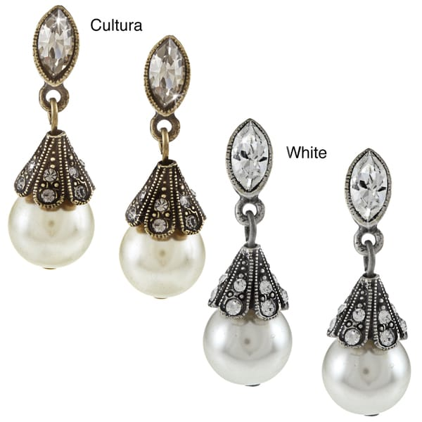 Sweet Romance Pearl and Crystal Wedding Victorian Earrings