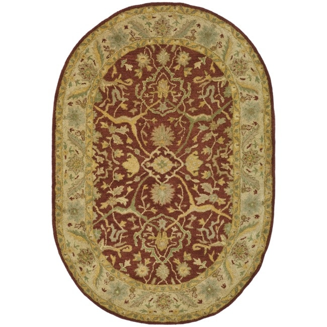 Safavieh Handmade Antiquities Mahal Rust/ Beige Wool Rug (4'6 x 6'6 Oval)