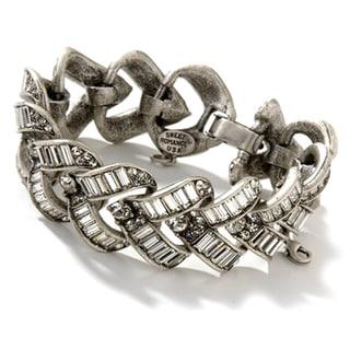 Sweet Romance 1930s Vee Baguette Art Deco Crystal Bracelet