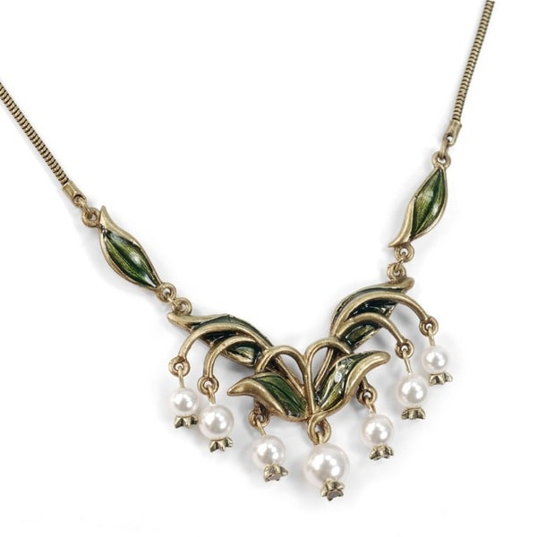 Sweet Romance Lily of the Valley Flower and Glass Pearls Necklace
