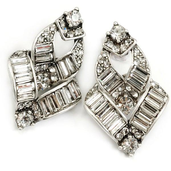 Sweet Romance 1930s 'V' Baguette Crystal Art Deco Vintage Dangle Earrings
