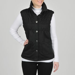 Montanaco Women's Black Faux Fur Lined Ruched Vest