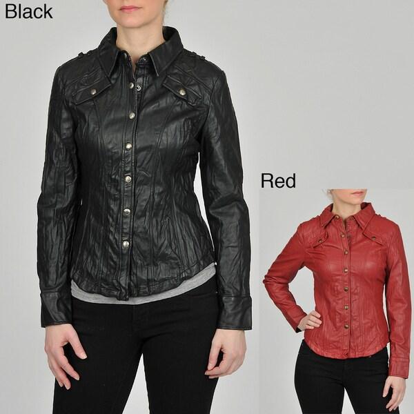 Montanaco Women's Faux Leather Shirt Jacket