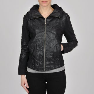 Montanaco Women's Black Faux Leather Jersey Knit Combo Jacket