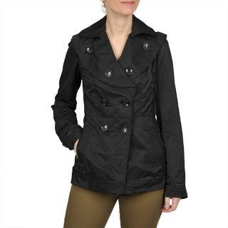 Regent Women's Black Double-Breasted Pea Coat with Shawl Collar