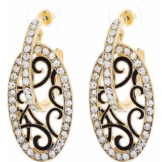 NEXTE Jewelry Goldtone Clear Rhinestone Hoop and Shield Earrings
